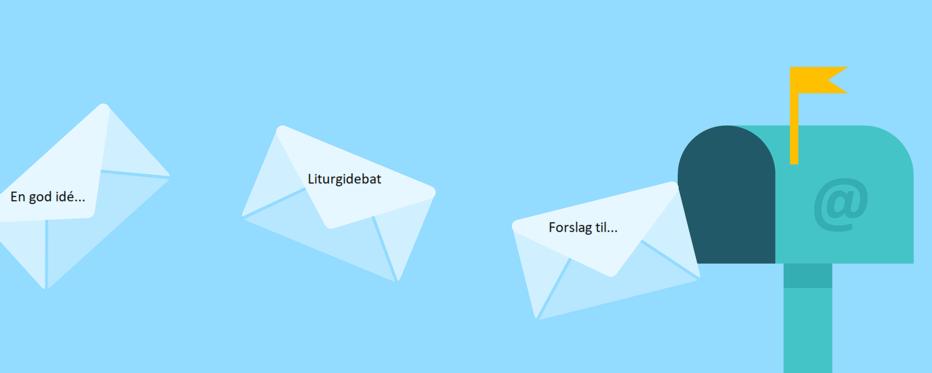 Tegning af breve, der flyver ind i postkasse