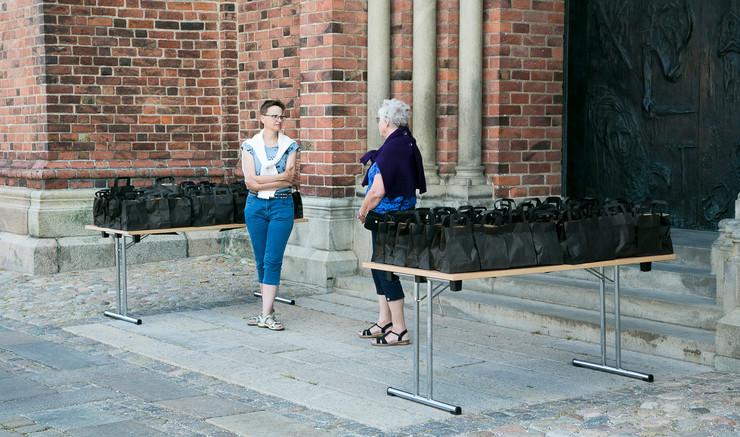 Billede af to ansatte foran Roskilde Domkirke